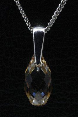 Swarovski kristal Briolette golden shadow ketting hanger - klein