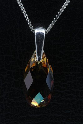Swarovski kristal Briolette copper ketting hanger - middel