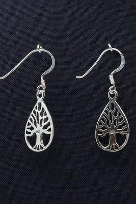 Zilveren Levensboom ovaal oorhangers