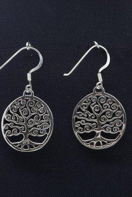 Zilveren Levensboom rond oorhangers