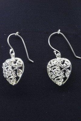 Zilveren Hart open oorhangers