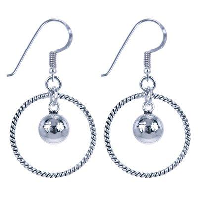 Zilveren Bal in cirkel oorhangers