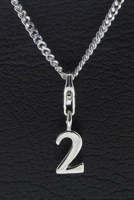 Zilveren Cijfer 2 (twee) hanger en/of bedel