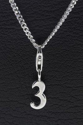 Zilveren Cijfer 3 (drie) hanger en/of bedel