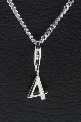 Zilveren Cijfer 4 (vier) hanger en/of bedel