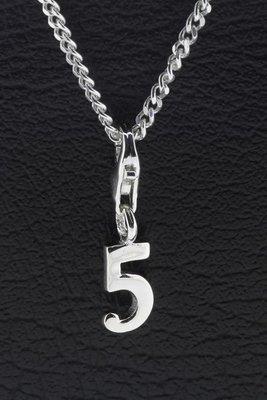 Zilveren Cijfer 5 (vijf) hanger en/of bedel