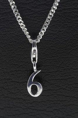 Zilveren Cijfer 6 (zes) hanger en/of bedel