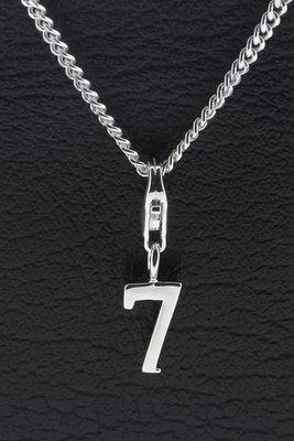Zilveren Cijfer 7 (zeven) hanger en/of bedel