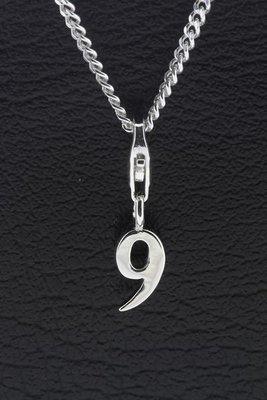 Zilveren Cijfer 9 (negen) hanger en/of bedel