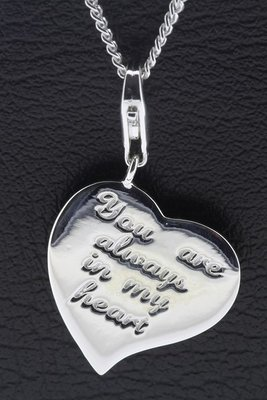 Zilveren Hart met tekst You are always in my heart hanger en/of bedel