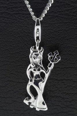 Zilveren Duivelin hanger en/of bedel