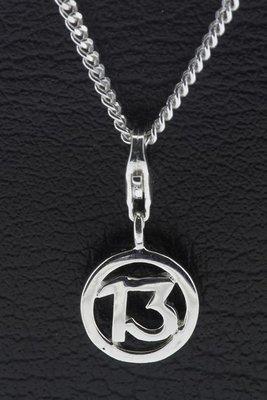 Zilveren Cijfer 13 ( getal dertien) hanger en/of bedel