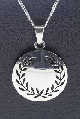 Zilveren Lauwerkrans Laurierkrans ketting hanger