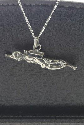 Zilveren Duiker XL ketting hanger