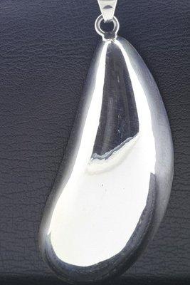 Zilveren Mossel abstract XL ketting hanger