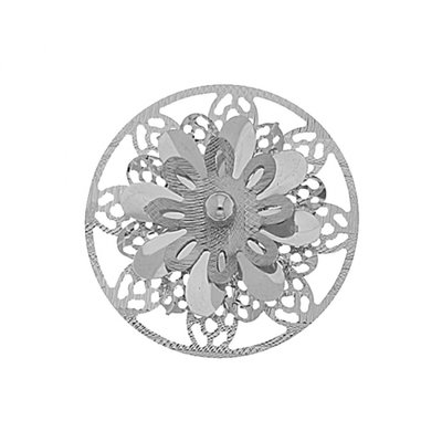 MY iMenso 925/rhod-plated insignia flat cover 3d flower 33mm - uitlopend