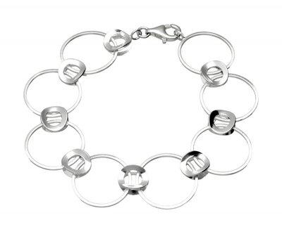 Zilveren design armband Oog in Oog  mat-glans 19 cm