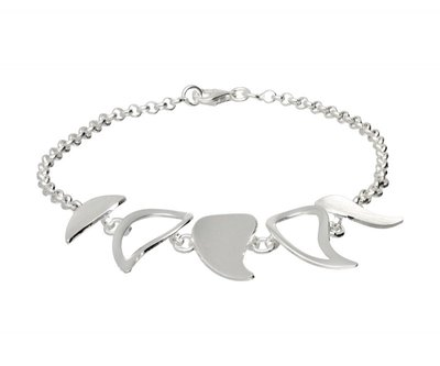 Zilveren design armband Pointer mat-glans 19 cm