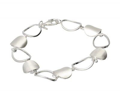Zilveren design armband Halfpipe open mat-glans 19 cm