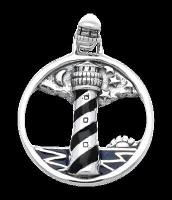 Zilveren Vuurtoren in ring kettinghanger