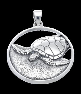 Zilveren Schildpad op strand opengewerkt kettinghanger