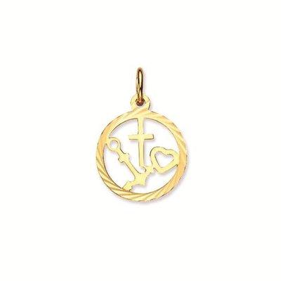 Gouden Geloof, Hoop en Liefde in ring 10 mm. hanger