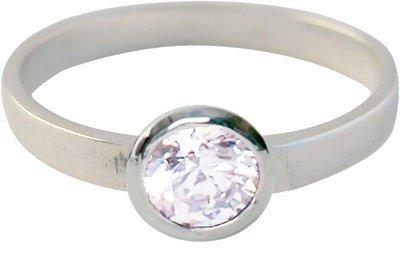 Zilveren Kinder ring maat 13 t/m 15 mm. met ronde witte zirkonia