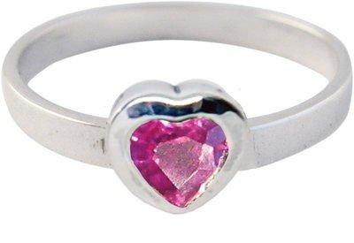 Zilveren Kinder ring maat 13 t/m 15 mm. met paars kristallen hart
