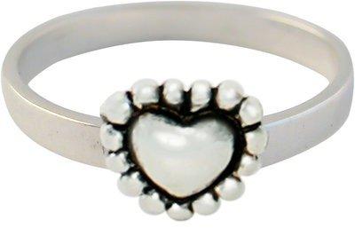 Zilveren Kinder ring maat 13 t/m 14 mm. met hart love you