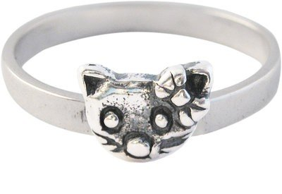 Zilveren Kinder ring maat 13 t/m 15 mm. met Kitty Cat