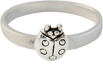Zilveren Kinder ring maat 13 t/m 14 mm. met Lieveheersbeestje