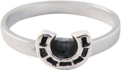 Zilveren Kinder ring maat 13 t/m 15 mm. met hoefijzer geluk