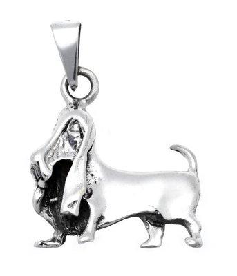 Zilveren Basset hond groot kettinghanger