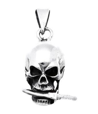 Zilveren Doodskop met mes in de kaak kettinghanger