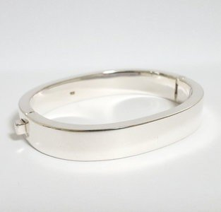 Zilveren kast armband smal 1cm breed en diameter 19 cm