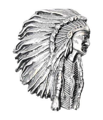 Zilveren Indiaan gezwart met tooi XL kettinghanger