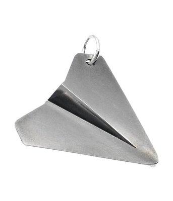 Zilveren Papieren vliegtuig groot kettinghanger