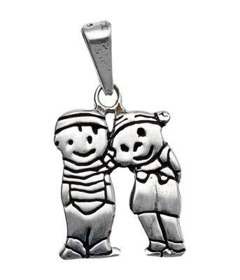 Zilveren Jongen en meisje kettinghanger
