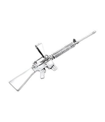 Zilveren Machinegeweer XL kettinghanger