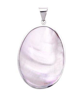 Zilveren Ovaal met parelmoer roze XL kettinghanger