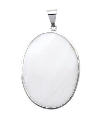 Zilveren Ovaal met parelmoer wit XL kettinghanger