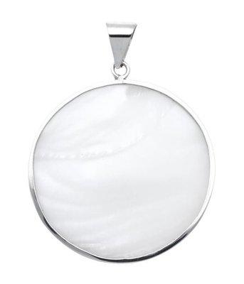 Zilveren Rond met parelmoer wit XL kettinghanger