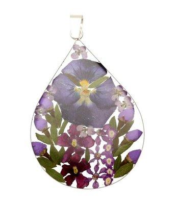 Zilveren Flowermix paars druppel groot kettinghanger
