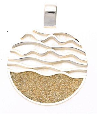 Zilveren Eb en vloed met strandzand kettinghanger