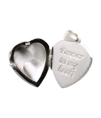 Zilveren Foto medaillon 1 foto Hartje met tekst Forever in my heart kettinghanger