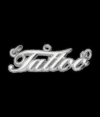 Zilveren Tattoo letters groot kettinghanger