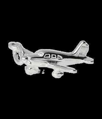 Zilveren Vliegtuig ketting hanger - 2