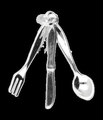 Zilveren Bestek ketting hanger - klein