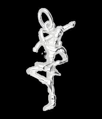 Zilveren Majorette meisje ketting hanger