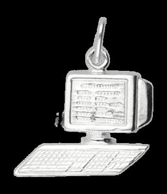 Zilveren Computer ketting hanger